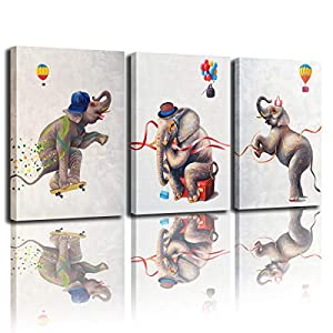 Canvas art mural balloon printing cute elephant embellishment golden decoration living room bedroom bathroom office home decoration painting artwork (12x16 inches x3)