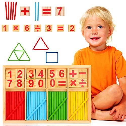 WELLXUNK Math Jouet en Bois, Jouet Compter Chiffres, Jeu Numérique Bâtons, Jouet Mathématiques Bois Bâtons, Enfants Ensembles d'Aide à l'enseignement, pour Garçons Et Filles De 3 Ans