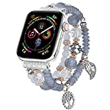 V-MORO Bracelet Compatible with Series 6 Apple Watch Band 40mm/38mm Series SE 5 Women Fashion Handmade Elastic Stretch Beads Replacement for iWatch Series 4/3/2/1 38mm/40mm with Silver Stainless Steel Adapter