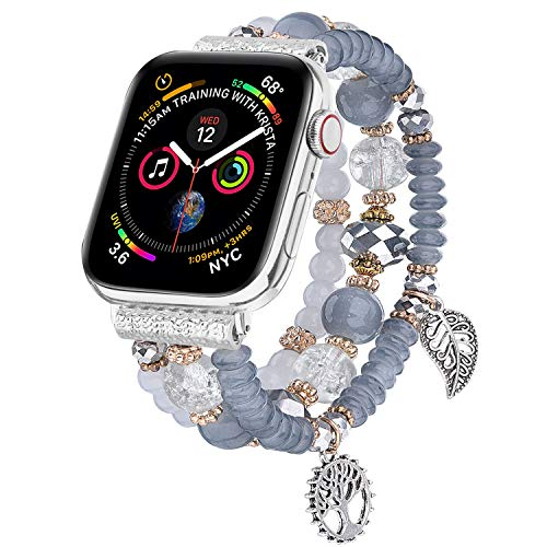 V-MORO Bracelet Compatible with Apple Watch Band 44mm/42mm Series 5 4 Women Fashion Handmade Elastic Stretch Beads Replacement for iWatch Series 3/2/1 42mm/44mm with Silver Stainless Steel Adapter