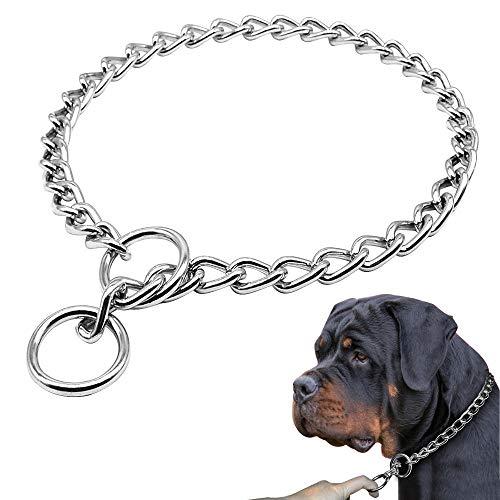 Acero Cadena Perro Hierro Cadenas deslizantes para perros Collar de estrangulamiento para mascotas Collares de cadena de metal para perros para perros pequeños, medianos y grandes, entrenamiento-60c