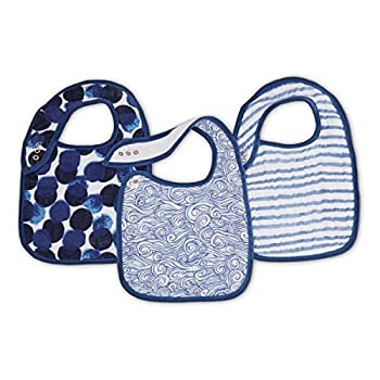 aden + anais Classic Snap Bib  100% Cotton Muslin  Soft Absorbent 3 Layers  Adjustable  9   X 13    3 Pack  Seafaring