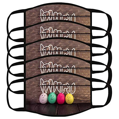 ADOSSAC 5 Pièces Adulte Faciaux_ Masques Visage de PÂQues Face Scarf de Réutilisable Couverture Couverture en 100% Coton Respirant Lavable Unisexe Bandana Tissus