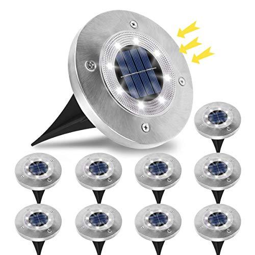 Luce Solare da Giardino, Jnnien 10 Pezzi Lampade Led Giardino 8 LED Luci Led Solari da Esterno IP65 Impermeabile Luci Decorazione per Esterno,Paesaggio,Prato,Piscina ,Cortile - Bianco Freddo