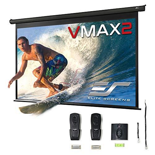 Elite Screens VMAX2 Premium Electric Motorized Projector Screen Home Theater 8K 4K Ultra HD Ready Projection w/ Multi Aspect Ratio Feature Max Size 120' Diag 16:9 to 114' Diag 2.35:1, VMAX120UWH2
