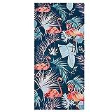 Toalla para la Playa o Yoga. Sostenible Eco-Friendly / Secado rápido / Peso Ligero / Microfibra / Hipoalergénico / Suave y Cómoda / Diseño Tropical Flamencos   Toalla Microfibra