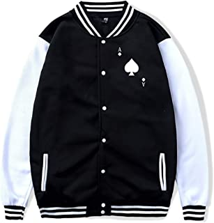 Unisex Baseball Jacket Uniform ACE of Spades Poker Boys Girls Hoodie Sweatshirt Sweater Coat