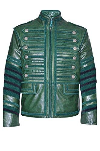 Smart Range Chaqueta DE Piel para Hombres .4234. Estilo Desfile Militar, Color Verde, DISEÑO Casual, Ideal para Fiestas ROCKERAS (3XL)