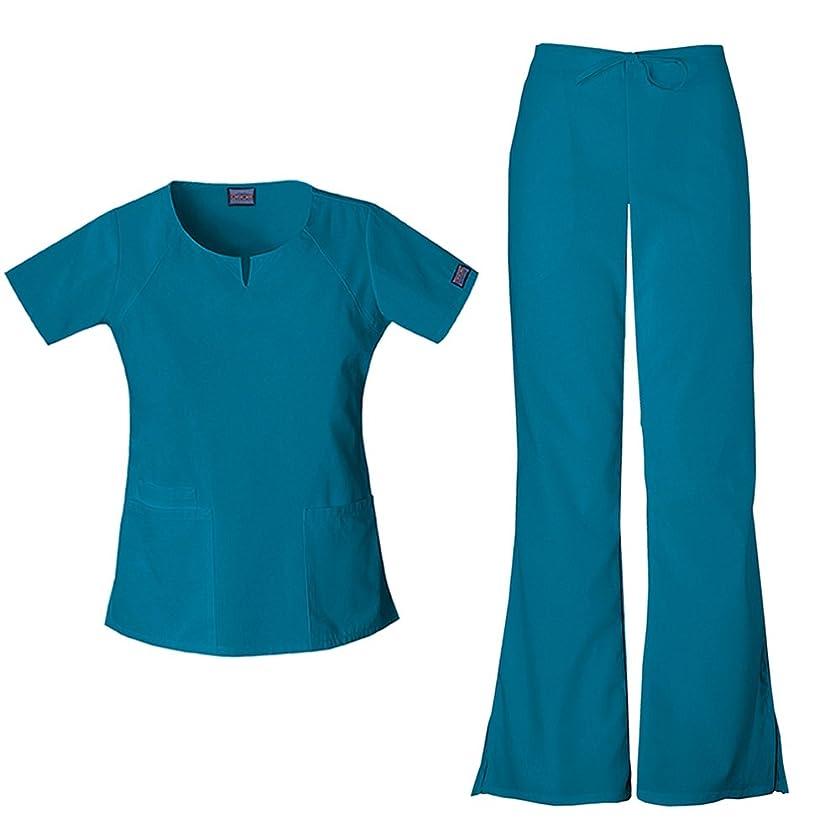 センブランス常習的曲線チェロキーWomen 'sワークウェアラウンドネックトップ4824?& Drawstringパンツ4101スクラブセット カラー: ブルー