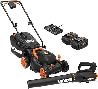 WORX WG958 14-inch 40V (4.0AH) WG779 Cordless Lawn Mower and WG547.9 Power Share Cordless Turbine Blower