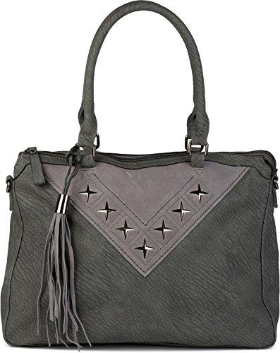styleBREAKER Shopper Tasche mit Metall-Cutout in Stern Form und Quaste, Schultertasche, Umhängetasche, Handtasche, Damen 02012180, Farbe:Dunkelgrau