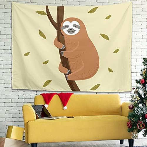 Ballbollbll Dibujos animados lindo perezoso animal tapiz moda colgar en la pared en la sala de estar picnic mantas tapices decoración blanco 79x59 pulgadas
