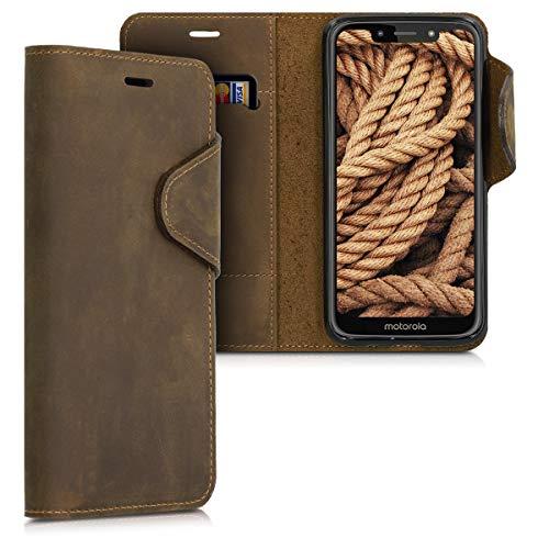 kalibri Wallet Hülle kompatibel mit Motorola Moto G7 Play (EU-Version) - Hülle Leder - Handy Cover Handyhülle in Braun