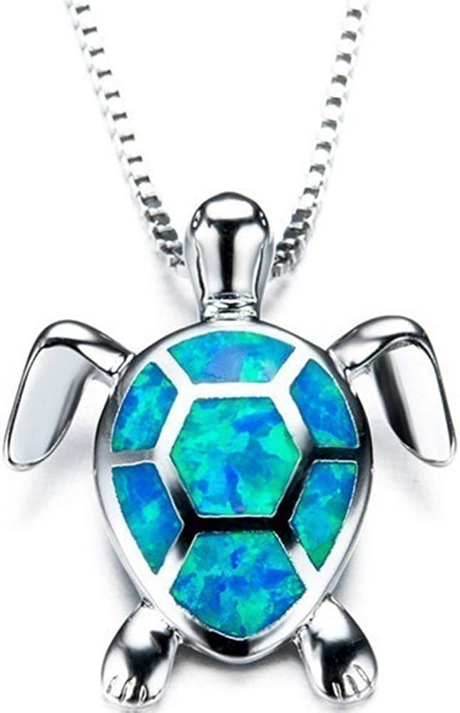 Jude Jewelers White Gold Plated Simulated Opal Small Turtle Pendant Statement Necklace
