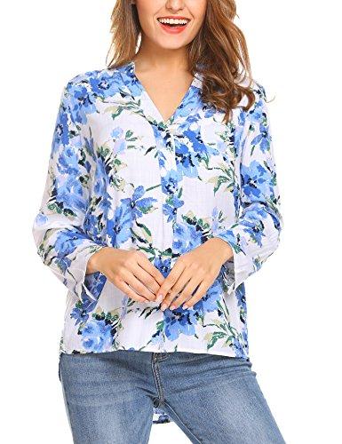 Beyove Damen Bluse Langarmshirt Blumenmuster mit V-Ausschnitt Locker Sitzend Freizeit Tunika Bluse Oberteile top (S/EU 36, (A) Blumen)