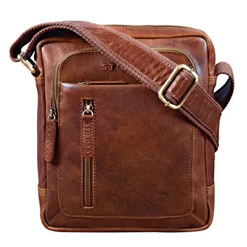 STILORD 'Jamie' Herren Ledertasche Umhängetasche klein Vintage Messenger Bag Herrenhandtasche für 9.7 Zoll iPad Moderne Leder Schultertasche für Männer, Farbe:antik - Used