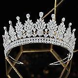Jorsnovs - Diadema da sposa, da donna, in zirconia cubica, gioiello da sera, regalo di Natale, San Valentino, per ragazze e Rame, colore: argento, cod. JWS84-Silver