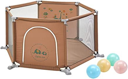 YEHL Playpen Baby Infant Play Yard Children s Cartoon Fence Household 6-Panel Playground Indoor Play Pen with Balls  Size 200 balls