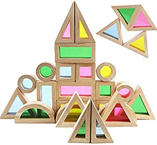 Agirlgle Wood Building Blocks Set for Kids 24 Pcs Rainbow Stacker Stacking Game Construction Building Toys Set Preschool Colorful Learning Educational Toys - Geometry Wooden Blocks for Boys & Girls