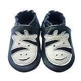 LSERVER Zapatos de bebé de Cuero Suave Pantuflas Infantiles Patuco de Suela Suave, Cebra Negro, M (6-12 Meses)