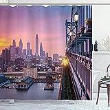 Amerikanischer Duschvorhang Philadelphia unter einem dunstigen Sonnenuntergangszug auf vibrierenden Brücken-Wolkenkratzern-Landschaftsstoff-Stoff-Badezimmer-Dekor-Set mit Haken Lila BlauAmerican Showe