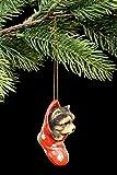 Figurine chiot Chien de bijoux de Noël | Yorkshire Terrier dans le Chaussette | Yorkie Boule décorative de Noël