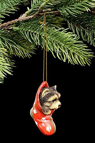 Christbaum-Schmuck Hunde Welpe Figur | Yorkshire Terrier im Strumpf | Yorkie Weihnachtsdeko Kugel