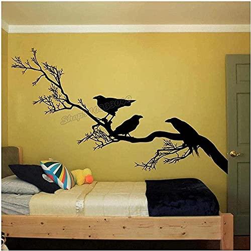 Pegatinas de pared alas de cuervo pájaro pegatinas de pared calcomanías ramas cuervo pegatinas de pared jardín de infantes decoración de la habitación de los niños papel tapiz 97X57 cm