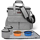Modoker Dog Travel Bag,Weekend Pet Travel Set for Dog and Cat, Airline Approved Tote Organizer with Multi-Function Pockets Grey
