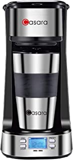 Casara Single Serve Coffee Maker- with Programmable timer and LCD display, Single Cup Coffee Maker with 14 oz. Double-wall Stainless Steel Travel Mug and Reusable Filter,Compact Personal Coffee Maker