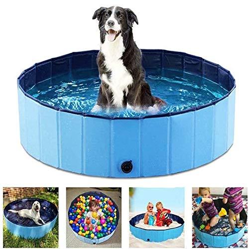 Tribesigns - Bañera de baño plegable para perros, gatos y niños, PVC resistente con suministros de limpieza de animales, estanque de agua para cachorros plegable para uso en interiores y exteriores