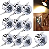 Elitlife 10 Pack LED Under Cabinet Lighting,1W 85-265V 2800-3500K Warm White LED Recessed Small Ceiling Downlight Cabinet Mini Spot Lamp with LED Driver