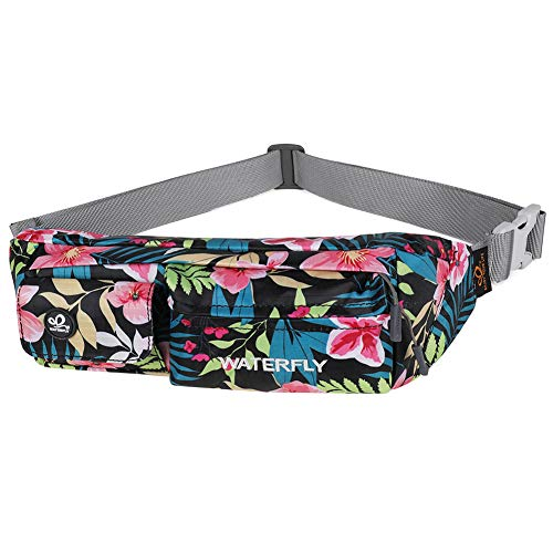 Waterfly Fanny Pack Slim Soft Polyester Water Resistant Waist Bag for Man Women Carrying iPhone Xs / 8 Plus Samsung S10 Plus/Note 8 (Black Base Floral)