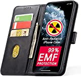 YUEKAI Anti-Radiation iPhone 11 Wallet Case with Card Holder, 99% EMF Protection, PU Leather Flip Case with Kickstand and Magnetic Closure, TPU Shockproof Interior Cover for iPhone 11 - (Black)