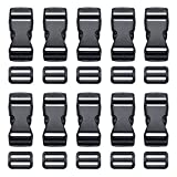 Kyuionty 10 Pcs Plastic Buckle 1 inch Adjustable Quick Release Buckles Replacement Clips Snaps Strap buckle with Slides for Nylon Strap, Dog Collars, Webbing Belt, Backpack