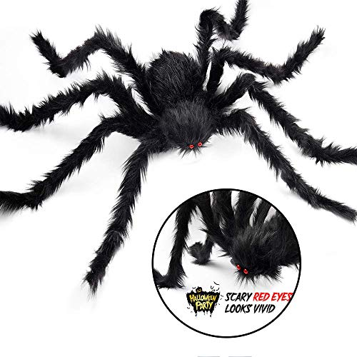 JuguHoovi Halloween Große Spinne mit Roten Augen, Schwarz Plüsch Spinne Unheimlich die Beste Dekoration Haunted House, Große Spinne Dekoration für Halloween Friedhof, Outdoor, Yard, Spuk Haus, 75 cm