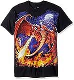 Liquid Blue Men's Plus Size Fantasy Dragon Fire Short Sleeve T-Shirt, Black, 2XL