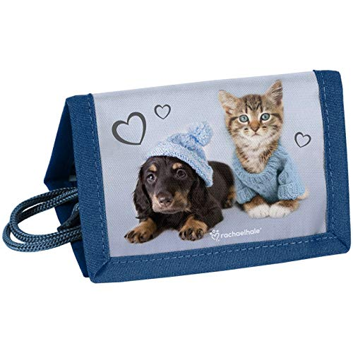 P A S O Kinder Portemonnaie 12x8x1,5 cm - Rachael HALE - Hund & Katze - BLAU