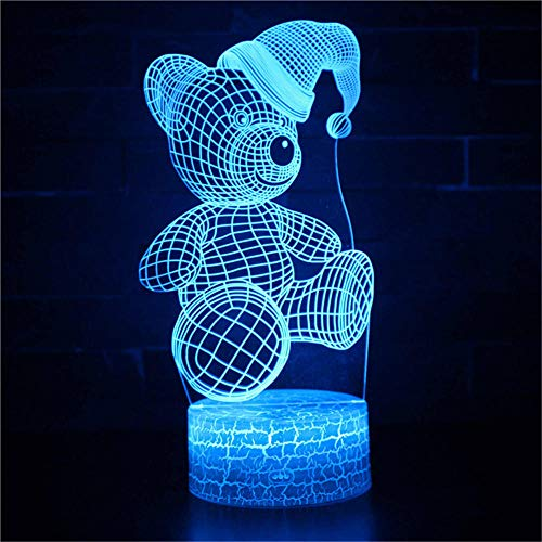 3D Illusion Lamp 16 Colour Changing Acrylic LED Night Light with,Art Sculpture Lights Room Home Decoration,USB Charger, Pretty Cool Toys Gifts Ideas Birthday Holiday Xmas for Baby Teddy Bear