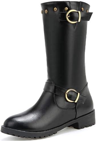 HYLFF Femmes Cuir Chevalier Boucle Les Les dames Faux Bottes Plat Martin Chaussures Bottines,noir,34EU