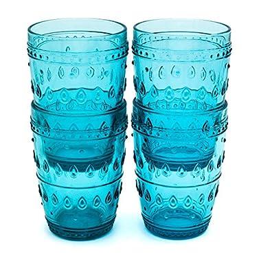 Euro Ceramica Fez Glassware Collection Highball Glasses, 14oz, Set of 4, Turquoise