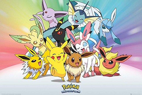 Pokémon Close Up Poster Evoli Entwicklungen (91,5 cm x 61 cm) + Geschenkverpackung. Verschenkfertig!