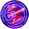 """ADVPRO Live Music Guitar Band Room Studio Dual Color LED Neon Sign Red & Blue 16"""" x 12"""" st6s43-i2546-rb"""