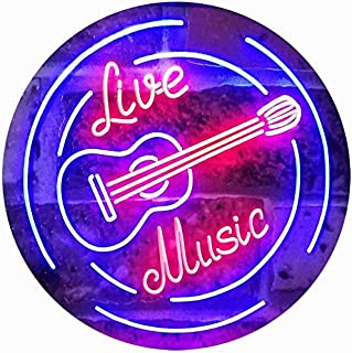 ADVPRO Live Music Guitar Band Room Studio Dual Color LED Neon Sign Red & Blue 16
