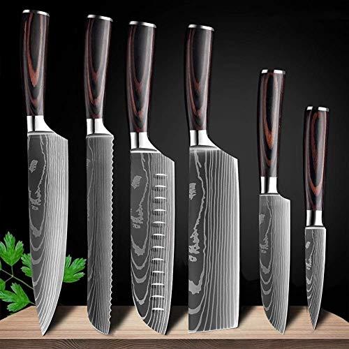 Cuchillo de Cocina Cuchillo de Cocina japonés de 8 Pulgadas con diseño de Damasco, Cuchillo de Chef, Cuchilla Afilada, Cuchillo para rebanar, Herramienta EDC 6 Pcs Value Set
