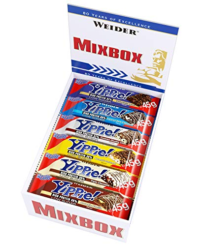 Weider Yippie! Protein Bar, Mix Box, 6 Delicious Flavors Europe's Favorite Protein Bar, Great Taste, Perfect Snack, 12 Pack, 45g