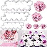 KAISHANE 3D Cortador de pétalos de rosa Herramienta de decoración de pasteles Molde de fondant de flor de hielo Cortador de galletas 3Pcs DIY Accesorios para hornear