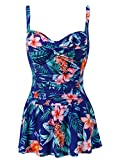Womens Retro Tummy Control One Piece Swim Dress with Adjustable Strap(Floral,Size 8)