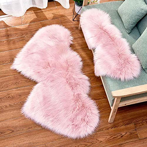 Purchase Atezch Faux Fur Rug, Heart-Shaped Wool Imitation Sheepskin Rugs, Non Slip Mat, Absorbent Ba...
