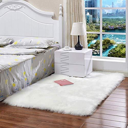 AINIYUE Alfombra de Piel de Oveja de imitación, alfombras Tie Dye, Alfombra Suave Shaggy, Alfombra Antideslizante, para Sala de Estar Dormitorio sofá alfombras de Piso 30x30cm Blanco